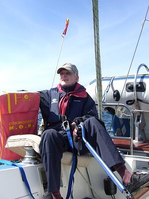 Robin Greenway's dad on a sailing boat